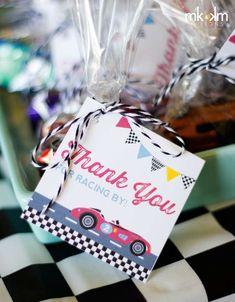 Race car birthday party favors!  See more party planning ideas at CatchMyParty.com!