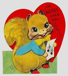 Vintage Single Layer Flocked Squirrel with Music Valentine Greeting Card