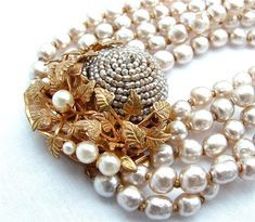 Signed Miriam Haskell Necklace Baroque Pearl Designer Vintage Jewelry Multi Strand Necklace, FREE US SHIPPING