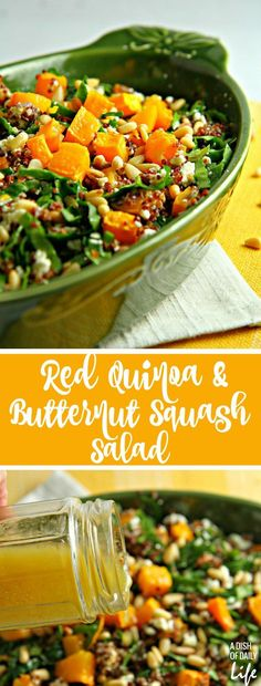 Trying to eat healthier in the New Year? Add more colors to your diet with this Red Quinoa Salad with spinach and butternut squash! This delicious and nutritious winter salad is the perfect addition to your lunch or dinner menu. Healthy Salad Recipes, Lunch Recipes, Vegetarian Recipes, Red Quinoa Recipes, Farro Recipes, Yummy Recipes, Yummy Food, Clean Eating Recipes, Healthy Eating