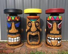 Items similar to Tiki bar Stool with swivel and footrest, hand carved. on Etsy Tiki Bar Stools, Tiki Bar Decor, Outdoor Tiki Bar, Outdoor Bar Stools, Tikki Bar, Illinois, Tiki Faces, Red Cedar Wood, Tiki Hut