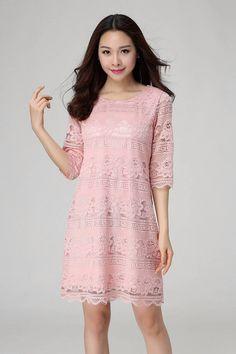 DYLD2247 Plus Size Lace Shift Dress