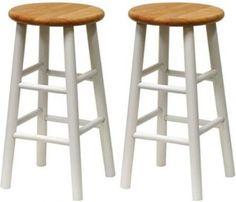 "24"" Bar Counter Stool Bevel Seat High Chair Comfort Wood Furniture 2 Set Stools"