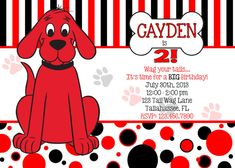 Clifford the Big Red Dog Inspired Printable Birthday Invitation
