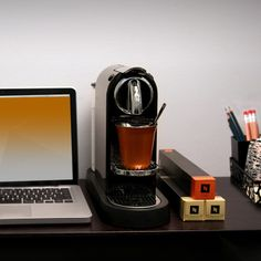 I picture this what Barb Ling's workspace looks like...The perfect cup of coffee fits perfectly into all environments.