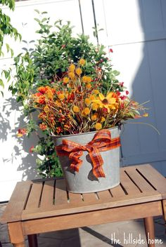 Galvanized Tub with Fall Flowers