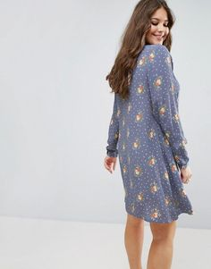 ASOS CURVE Pretty Floral Swing Dress with Collar Detail - Multi