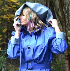 Captivating blue rubber-lined hooded mackintosh Mackintosh Raincoat, Girls Wear, Women Wear, Rain Cape, Mens Raincoat, Rubber Raincoats, Raincoats For Women, Rain Wear, Girls In Love