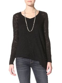 57% OFF Acrobat Women's Slub Asymetrical Hem Sweater (Black)