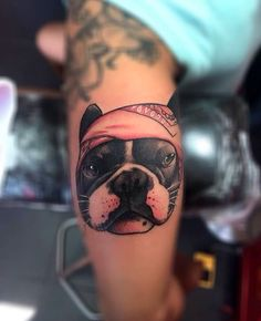 Ride or die Frenchie. Dog Tattoos, Cute Tattoos, French Bulldog Tattoo, Body Is A Temple, Boston Terriers, Tattoo You, Tatting, Walls, Awesome