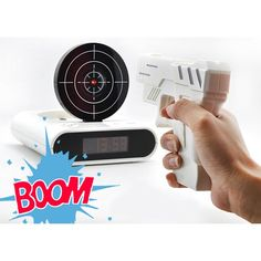 This novelty Laser Target Alarm Clock will help you out of the deepest slumber by forcing you into a bit of morning target practice! Thats right, you actually have to shoot the target with the gun to turn off the alarm! Technology Design, Technology Gadgets, Novelty Clocks, Cool Clocks, Cool Tech Gadgets, Target Practice, Digital Clocks, Turn Off, Alarm Clock