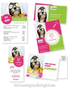 Dog grooming business advertising and marketing templates and forms for pet groomers in a kit http://www.petgroomingmarketingkit.com/pet-dog-grooming-business-advertising-marketing-templates-forms-groomer.html