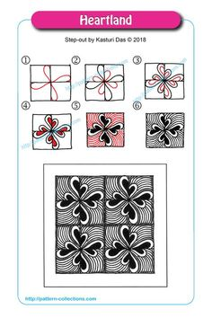 Drawing heart step by step zentangle patterns 62 ideas Doodles Zentangles, Tangle Doodle, Zentangle Drawings, Easy Zentangle Patterns, Zen Doodle Patterns, Doodle Art Designs, Doodle Borders, Wreath Drawing, Painting & Drawing