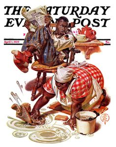 Scrubbing The Floor by J. C. Leyendecker, April 1, 1939, The Saturday Evening Post.