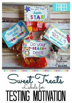 Candy labels for testing motivation! Add some treats to these free candy labels for a little fun during testing time! Testing Treats For Students, Dance Team Gifts, Candy Quotes, Candy Sayings, Classroom Freebies, Classroom Ideas, Future Classroom, Staar Test, Candy Labels