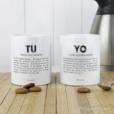 """KIT de 2 tazas personalizadas - """"TU Y YO"""""""