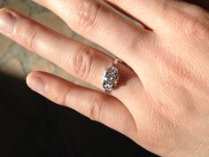My antique Art Deco engagement ring from 1925. Platinum .60 carat with side diamonds. I love it!