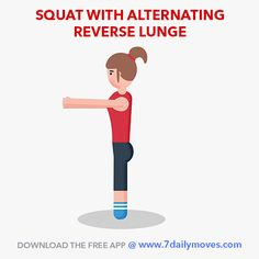 A great combo exercise for toned legs.  Squat with reverse lunge strengthens and tones the entire lower body including thighs, glutes and hamstrings. Burn fat and   get super fit with quick effective workouts from the 7 Daily Moves app.  Download the app and see your body change!  www.7dailymoves.com  #legworkout #homeworkouts #Newmomworkouts #fitmomworkouts #bodyweight #HIIT #medicineball #motivation #consistency #cardio   #strength #7dailymoves #stayfit #movemore #sittingkills #fitfam…
