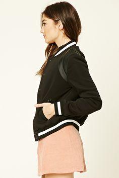 Faux Leather Trim Bomber Jacket