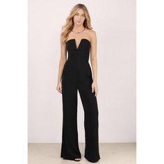 Tobi Katrina Wide Leg Jumpsuit ($74) ❤ liked on Polyvore featuring jumpsuits, black, wide leg jumpsuit, jump suit, strapless wide leg jumpsuit and strapless jumpsuit