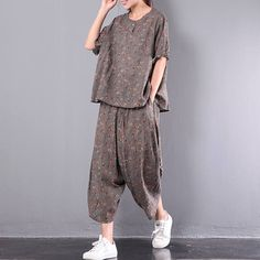 Women summer sports suit linen blouse short sleeve tops and