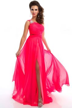 One Shoulder Neon Pink Open Back Prom Dress -  Prom Dresses - Mac Duggal 6294L