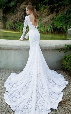Fitted Wedding Gown, Lace Mermaid Wedding Dress, Backless Wedding, Gorgeous Wedding Dress, Wedding Dress Sleeves, Mermaid Dresses, 2015 Wedding Dresses, Wedding Dress Shopping, Wedding Dress Styles
