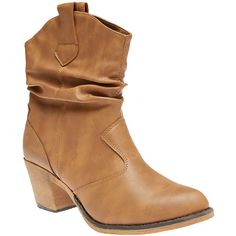 Wet Seal Slouchy Cowboy Boots ($25) ❤ liked on Polyvore featuring shoes, boots, ankle boots, tan, tan ankle boots, slouch cowgirl boots, tan boots and high heel cowboy boots