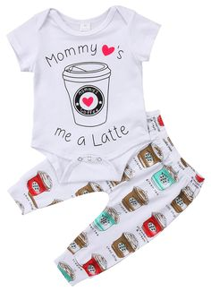 Mommy's Little Latte Set Newborn Baby Boy Girl Short Sleeve Cotton Baby Bodysuit Long Pant Headband Outfit Kids Clothing Baby Tritte, First Baby, Baby Sleep, Baby Love, Fall Baby, Latte, Outfits Niños, Kids Outfits, Baby Outfits