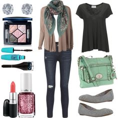 """Everyday Spring"" by evelyn-forbes on Polyvore. Casual outfit with flowing top and cardigan, floral mint scarf."