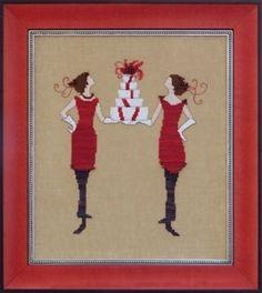 "NC172 - Red Gifts - Red Ladies Collection - Nora Corbett Designs (Mirabilia Designer) Uses / Description: 65142 Chestnut Linen 32ct, 6595 Milk Chocolate Linen 32ct, Milk Chocolate Aida 16ct  Beads: (#of pkgs) 18099 (1)  Kreinik: #4 Braid 421 (B969, B1969)  Caron Collection Waterlilies: CWL175, CWL219, CWL221  **Approximate size 7.6""w x 8.9""h"