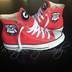 Monogram Eye Candy is the best place to find cute and preppy monogram accessories, clothing, shoes, and more! Georgia Bulldog Shoes, Georgia Bulldogs Cake, Georgia Bulldogs Quotes, Ga Bulldogs Football, Georgia Shirt, Preppy Monogram, Georgia Girls, Converse Sneakers, Dream Shoes