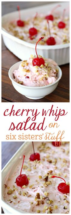 Creamy Cherry Whip Salad : Beat 3oz softened cream cheese, 14oz sweetened condensed milk. Stir in 21oz can cherry pie filling, 2 cans (8oz ea.) crushed pineapple -drained. Fold in 12oz Cool Whip, (some chopped walnuts, opt.). Put into 9X13dish. Chill at least 2hrs.