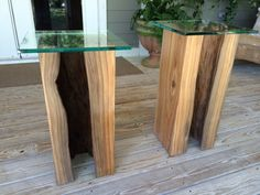 """Sinker Cypress Side Tables by John Gabrielson - Natural Creations. 11x11x24 with 1/2"""" glass top. Natural finishes."""