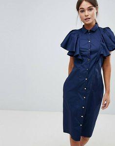 Платье на пуговицах с оборками на рукавах Closet