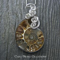 Ammonite Fossil Wire Wrapped Pendant Necklace by CareMoreCreations.com