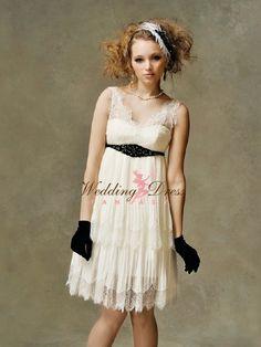 Short wedding lace dress