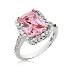 Sterling Silver Ring Radiant Cut Pink Cubic Zirconia Ring 4.5 Ct.tw -Nickel Free Engagement Wedding Ring - Jewelry For Her