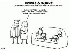iPad school reeks Fokke en Sukke. 21st Century Skills, Ipad, Teacher Education, Infographic, Lol, Cartoons, School, Photo And Video, Comics