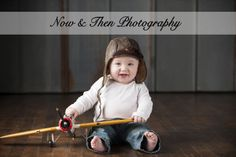 Now & Then Photography | Balsam Lake, WI | Posts | Baby Declan | 6 Months Pictures | Boy | Sitting Up | Air Plane | Leather Pilots Cap | Vintage |