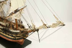 Close-up photos of ship model HMS Wellesley. HMS Wellesley was launched at Bombay in 1815 as a 74 gun ship. Model Ship Building, Old Sailing Ships, Close Up Photos, Hms Victory, Model Ships, Ship Of The Line, Pirate Ships, Boats, Plastic