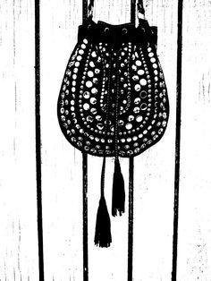 c98c9c91379b Black lamb skin studded cross body purse by MAUDbyLaura on Etsy