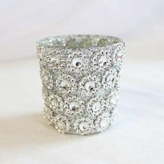 Glass Floral Votive Holder in Silver - 2.5in. Tall by 2.25in. Wide - Set of 6