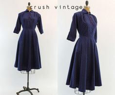 1940s Polka Dot Dress XS / 40s Cotton Dress / by CrushVintage, $102.00