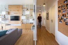 This contemporary two bedroom apartment has plenty of built-in storage.