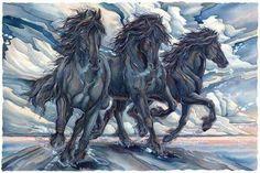 Bergsma Gallery Press :: Paintings :: Nature :: Horses :: The Power Of Purpose - Prints Horse Sketch, Black Horses, Wild Horses, Tile Murals, Animal Posters, Watercolor Techniques, Watercolor Ideas, Watercolor Artists, Equine Art
