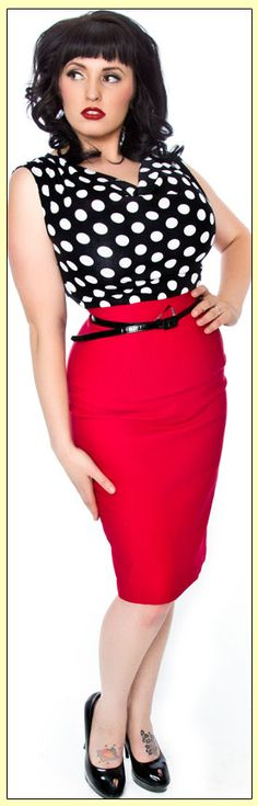 Daddy O's Gifts & Collectibles pinup rockabilly clothing punk polkadot red pencil skirt dress
