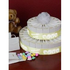 2 Tier Yellow Baby Shower Party Favor Cake Kit - Welcome Baby!