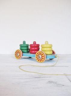 Vintage Brio Sweedish Pull Toy Colourful Primitive by CocoAndBear, $28.00