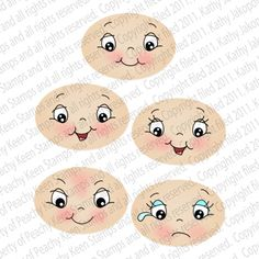 PK-451 Wide Eyed Kids 1 1/8″: Peachy Keen Stamps | Home of the original clear, peach-tinted, high-quality whimsical face stamps.